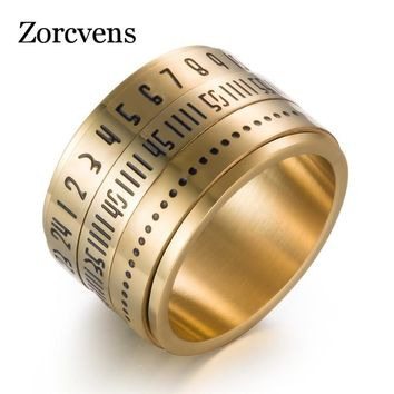 ZORCVENS New Fashion Punk Vintage Black Silver Gold Color Roman Numerals Big Men Ring Jewelry