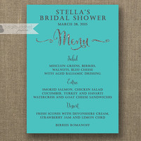 Tiffany Blue & Silver Menu Silver Glitter Bridal Shower Menu Wedding Teal Formal Hens Party Bold Modern Printable Digital or Printed- Mila