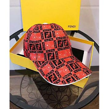 FENDI Hot Sale Women Men Sports Sun Hat Baseball Cap Hat Red