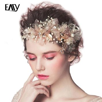 Bohemian Headpiece Pearl yarn Flower Braid Headband headdress beauty  Head Beaded ornament Wedding Hair  Accessorie for women