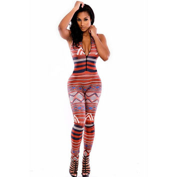 Moroccan Bodycon Jumpsuit Tribal Print maxi Overalls Sleeveless Turtleneck Rompers Fitness Jumpsuit Suit for Women 712