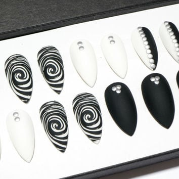 Black Stiletto Nails - Matte White Nails - Pointy Nails - Hand Painted Press On Nails - False Nails with Designs - Full Fake Nails