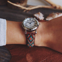 BW-08, Free U.S shipping,Native American inspired hand-beaded watch.brown,leather,handmade,hippie,boho,hipster