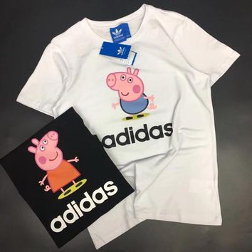ADIDAS PEPPA PIG Print Tee Shirt Top Women Men Tee B-YF-MLBKS White
