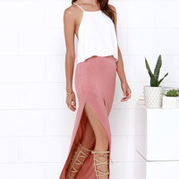 Maxi-mum Power Dusty Rose Maxi Skirt