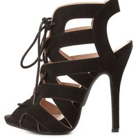 Peep Toe Cut-Out Lace-Up Heels by Charlotte Russe - Black