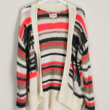 Striped Neon Cardigan-L