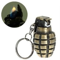 Excellent Grenade Shaped Steel Butane Cigar Lighter with Keyring -Golden