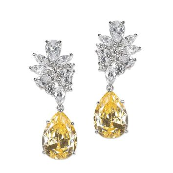 Canary Yellow Cluster Pear Drop Earring