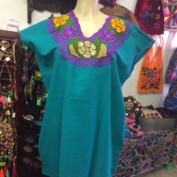 Mexican Floral Embroidered Blouse Teal