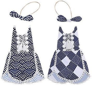 2pcs!!Toddler Baby Girls Clothes Lace Geometric Romper Tassel Backless Jumpsuit +Headband Outfits Clothes Summer 0-4T