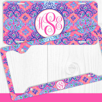 Purple Coral Damask Monogram License Plate Frame Holder Metal Wall Sign Tags Personalized Custom Vanity