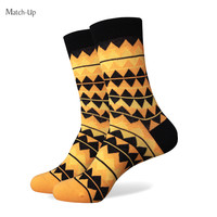 New men colorful combed cotton socks Blank and yellow color socks