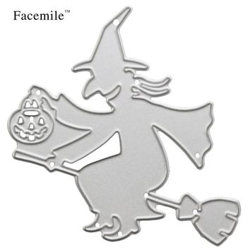 Facemile 1PCS Halloween Ride Witch Metal Die cutting Dies Scrapbooking Photo Album Decorative Embossing Folder Stencil 88028