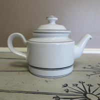 Vintage Porsgrund Teapot Coffee Pot Serving Pot Porsgrund Norway White with Black Stripe Scandinavian Teapot Tea Service Housewarming Gift