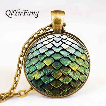 QiYuFang jewelry Pendant Game of Thrones Dragons large Egg Necklace doctor who Stark mens vintage Steampunk glass charms chain