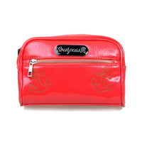 Raspberry Textured Patent Betsy Anchor Makeup Bag