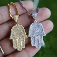 Crystal Hamsa Hand Pendant & Necklace