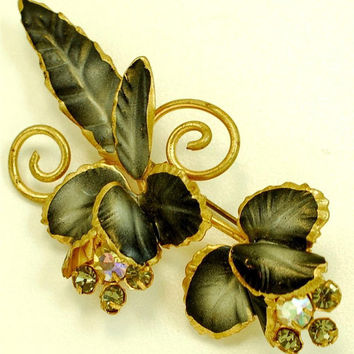 Vintage Estate Black Gray Enamel and Rhinestone Flower Brooch Gold Tone