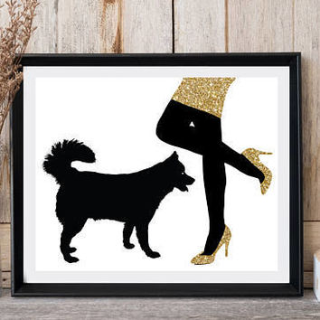 Fashion wall decor, Dog print, Woman legs, Woman with dog, Gold glitter shoes, Husky print, Greeting card printable, Dog art, High heels