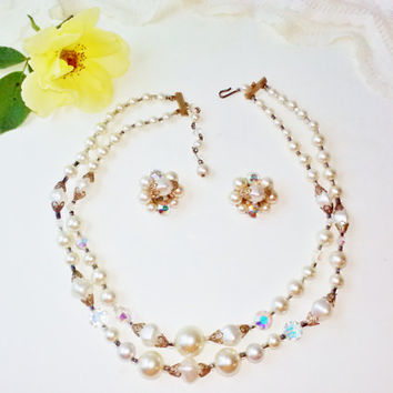 White Pearl 2 Strand Necklace & Earring Set Vintage Demi Parure Bridal Wedding Costume Jewelry AB Crystal Stones Gold Filigree Caps