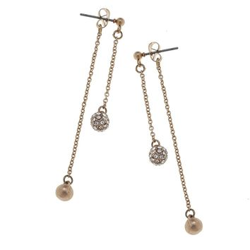 Ball Pave Front/Back Chain Earrings