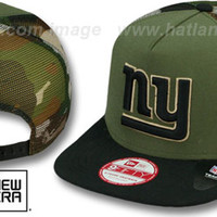 NY Giants 'MESHED CAMO SNAPBACK' Army-Black Hat by New Era
