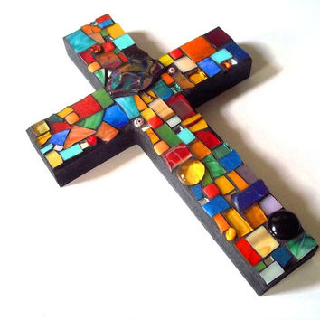 Mosaic Glass Cross // Stained Glass // Wall Art // Wall Hanging // Home Decor // Bright // Colorful // Mosaic Scrap Art // 9 x 6 Inches