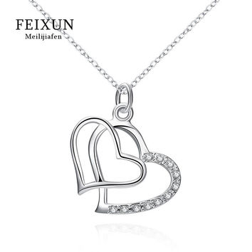 Hot sale jewelry silver plated pendant for gift Fashion Romantic Jewelry Silver Heart Necklaces & Pendants For Women