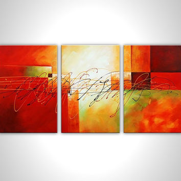 Red painting - Canvas art - Large painting on canvas - Multi panel art - Abstract artwork - Modern wall art - Gallery wrapped painting