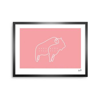 Stay Wild - Pink White Typography Digital Framed Art Print