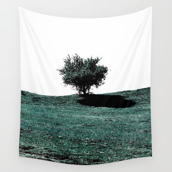 Tree On Hill Wall Tapestry by ARTbyJWP