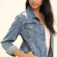 Latest Lineup Medium Wash Distressed Denim Jacket