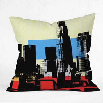 Los Angeles skyline urban art pillow