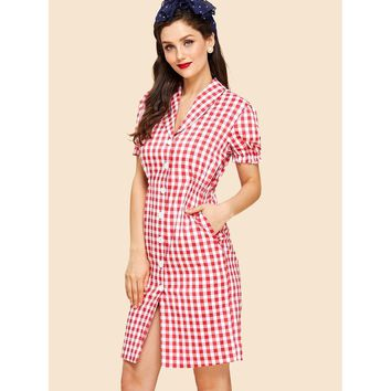 Shawl Collar Puff Sleeve Button Up Gingham Dress