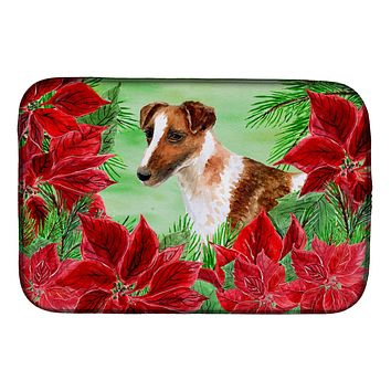 Smooth Fox Terrier Poinsettas Dish Drying Mat CK1296DDM