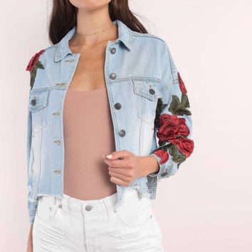 Emory Park Margot Floral Embroidered Denim Jacket