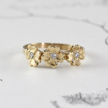 14k Flower Trilogy Band, Yellow Gold & Diamond Dogwood Bohemian Alternative Wedding Engagement Stacking Statement Ring, Anniversary Gift