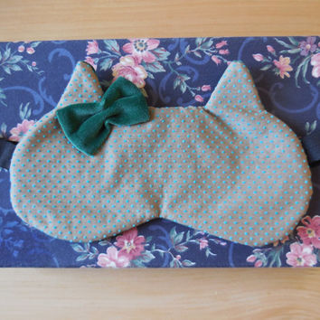 Luxurious Velvet Nap Mask with Bow - Vintage Taupe Swiss Dot - Sophisticated Dark Green Velvet - Kitty Shaped Sleep Eye Mask - Women