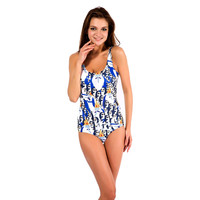 Blue Adventure Time Print One Piece Swimsuit