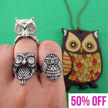 Owl Shaped Rings and Hand Drawn Owl Necklace 4 Piece Set | Size 8