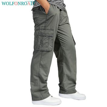 Wolfonroad Men's Outdoor Pants Plus Size Camping Hiking Pants Cargo Tactical Trousers Loose Fishing Trekking Pants L-AKXY-01