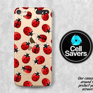 Ladybug Pattern iPod 5 Case iPod 6 Case iPod 5th Generation iPod 6th Generation Rubber Case Gen Red Lady Bug Pattern Cute Insect Tumblr Dots