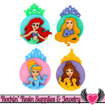Disney PRINCESS Cinderella, Ariel, Belle, and Rapunzel Dress It Up Jesse James Buttons