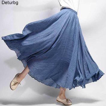 Women's Elegant Pleated Cotton Linen Maxi Skirt Summer Ladies Casual Elastic High Waist 2 Layer Skirts Saia 20 Color SK53