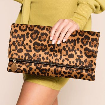Kennedy Brown Leopard Clutch Purse