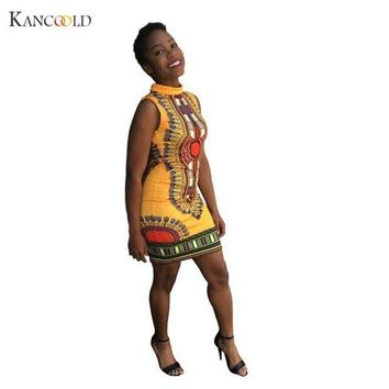 ONETOW Fashion Dashikis Cotton 2016 Summer Print African Fashion Custom Africa Clothing Dress for Women Dress Vestidos  Se12GBY
