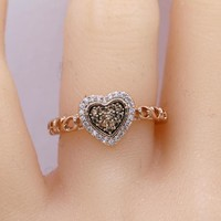 Rose Gold Halo Heart Chocolate CZ Promise Ring /Chocolate Color Engagement Ring #1004