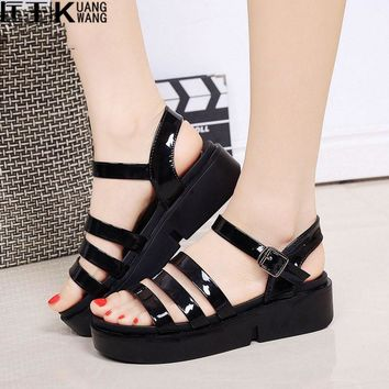 2017 Fashion Women Sandals Platform Wedges Gladiator Sandals Women Summer Shoes Flat B