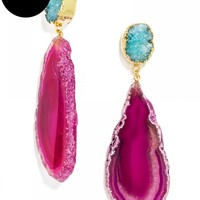 Geode Drops-Pink/Turquoise